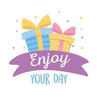 feliz aniversário, caixas de presente, aproveite a celebração do seu dia vetor