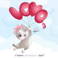 doodle gatinho fofo para o dia dos namorados vetor