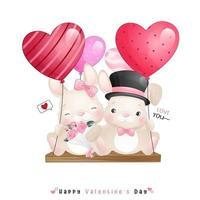 coelho fofo doodle para o dia dos namorados vetor