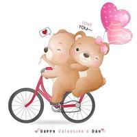 urso doodle fofo para o dia dos namorados vetor