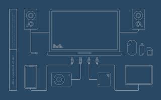 Porta USB e ilustração do notebook vetor