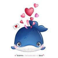 doodle baleia fofa para o dia dos namorados vetor