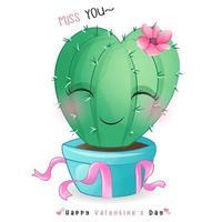 doodle cacto fofo para o dia dos namorados vetor