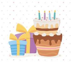 ícones de celebração de feliz aniversário vetor
