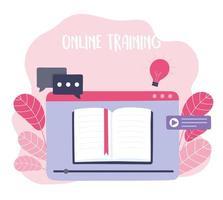 treinamento online com página do site vetor
