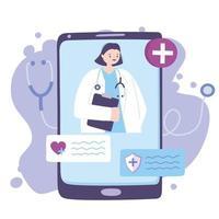 conceito de telemedicina com médico no smartphone vetor