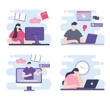 treinamento online definido com pessoas vetor