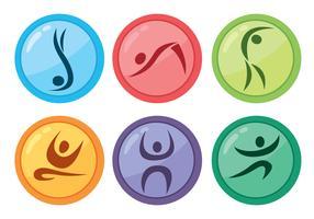 Ícones coloridos de círculo de ginasta