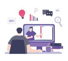 treinamento online com homem assistindo a um curso vetor