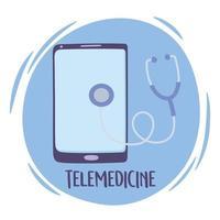 conceito de telemedicina com smartphone vetor