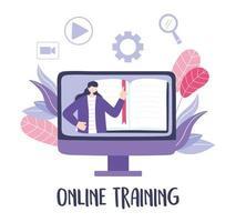 treinamento online com mulher em vídeo-aula vetor