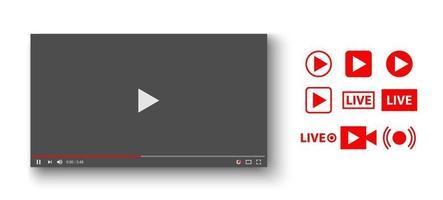 player de vídeo com conjunto de ícones ao vivo, ilustração vetorial vetor