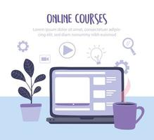 modelo de banner de cursos online com laptop vetor