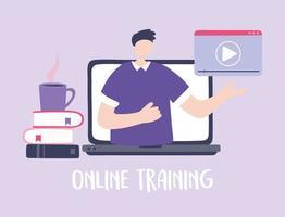 treinamento online com homem no laptop vetor