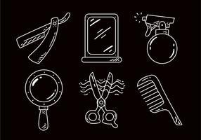 ícones de contorno de ferramentas de barbeiro vetor