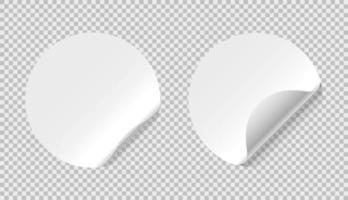 maquetes de adesivo de papel em branco isoladas, ilustração vetorial vetor