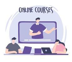 treinamento online com o homem em uma tela vetor