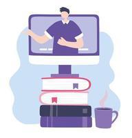 treinamento online com homem no computador vetor