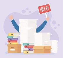 mão com letras de ajuda, frustração e estresse no trabalho de escritório vetor