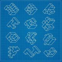 o cubo tridimensional abstrato como um elemento do modelo de projeto blueprint vetor