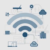 tecnologia de rede de conexão sem fio, ilustração vetorial vetor