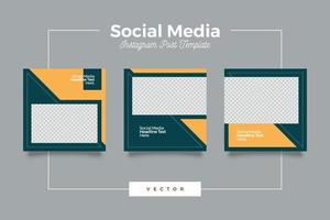 pacote de modelo de postagem de mídia social moderno e simples vetor