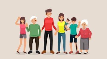 família, pessoas, mãe e pai com bebês, filhos e avós, ilustração vetorial design plano