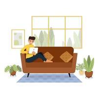 ficar em casa, quarentena, pessoas em casa, quarto ou apartamento, jovem relaxando no sofá, ilustrador vetorial