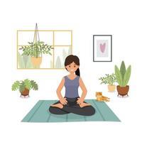 ficar em casa, quarentena, pessoas em casa, quarto ou apartamento, menina praticando ioga, ilustrador vetorial