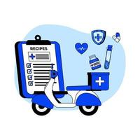 conceito de ícone de entrega de medicamento vetor