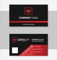 modelo de design de cartão de visita geométrico vermelho e preto vetor