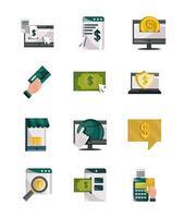 pagamentos online, dinheiro e conjunto de ícones de tecnologia de finanças vetor