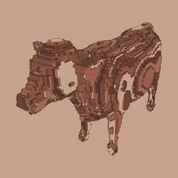 desenho de voxel de uma vaca vetor