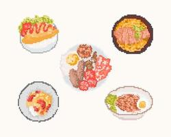 conjunto de alimentos em pixel art. Ilustração em vetor arte 8 bits.