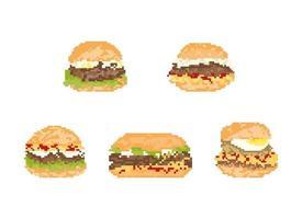 conjunto de hambúrguer em pixel art. Ilustração em vetor arte 8 bits.