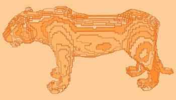 desenho de voxel de um tigre vetor