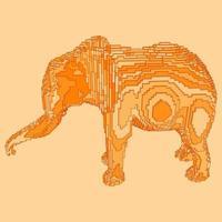 desenho de voxel de um elefante vetor