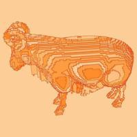desenho de voxel de uma ovelha vetor