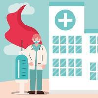 médico como herói com vacina em frente ao hospital vetor