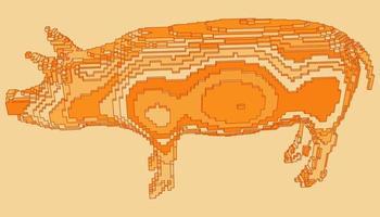 desenho de voxel de um porco vetor