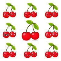 fruta cereja fofa vetor