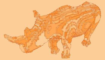 desenho de voxel de um rinoceronte vetor