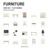 ícones de móveis modernos. conjunto simples de ícones plana de móveis. estilo de design plano. ícone do vetor. vetor