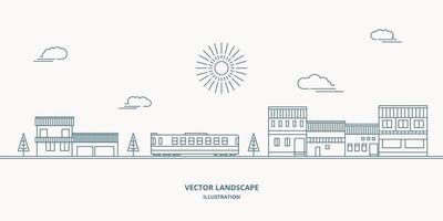 paisagem de vetor com casas, construção, árvore, céu. paisagem suburbana. vetor de design de linha plana.