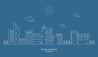 ilustração da paisagem da cidade com um estilo de linha fina. paisagem da cidade de linha fina. ilustração vetorial. vetor