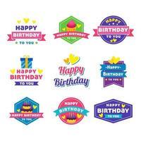 adesivos de feliz aniversário vetor