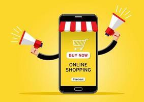celular gigante vendendo mercadorias usando dois alto-falantes vetor