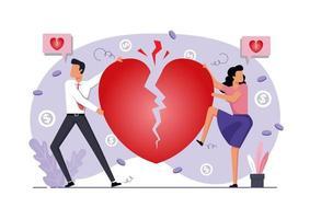 um casal e divórcio de coração partido vetor