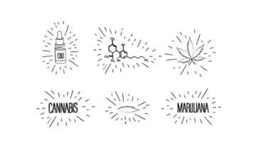 esboços de folhas de cannabis, garrafa de óleo cbd, fórmula química de cbd e logotipos de cannabis em estilo doodle isolado no fundo branco.