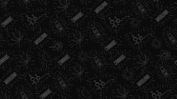 padrão sem costura preto em estilo doodle com folhas de cannabis, garrafa de óleo cbd, fórmula química de cbd e logotipos de cannabis